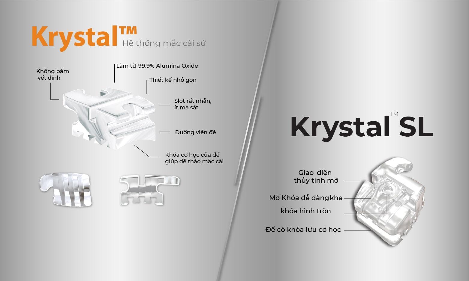 Hệ thống mắc cài sứ và sứ tự buộc Krystal và Krystal SL